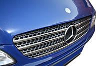 Mercedes Vito W639 2004-2015 гг. Накладка на решетку 2004-2010 (нерж) OmsaLine - Итальянская нержавейка