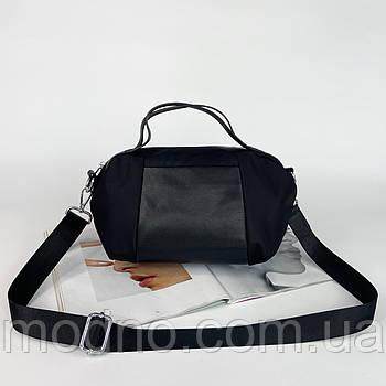 Жіноча сумка на та через плече з текстильним ремінцем чорна