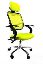 Кресло офисное с подлокотниками и откидной спинкой Ergo D05 сетка Зеленый