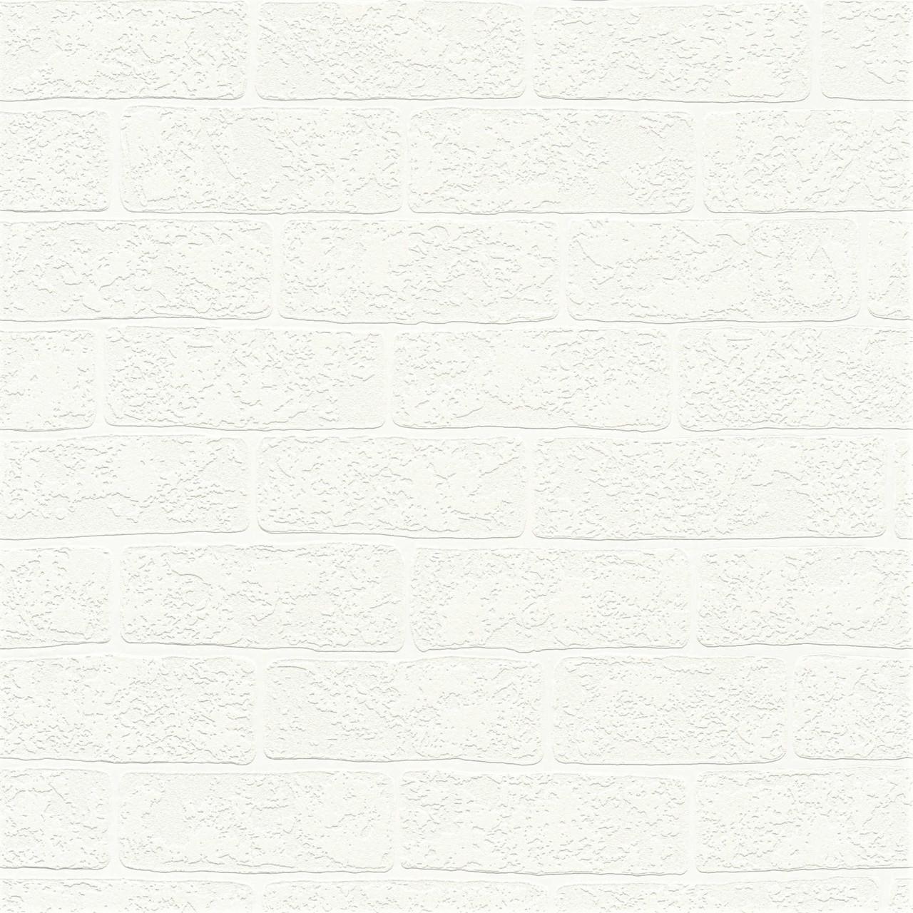 Миються німецькі шпалери 359811, з довгими білими цеглою холодного відтінку, вінілові на флізеліновій