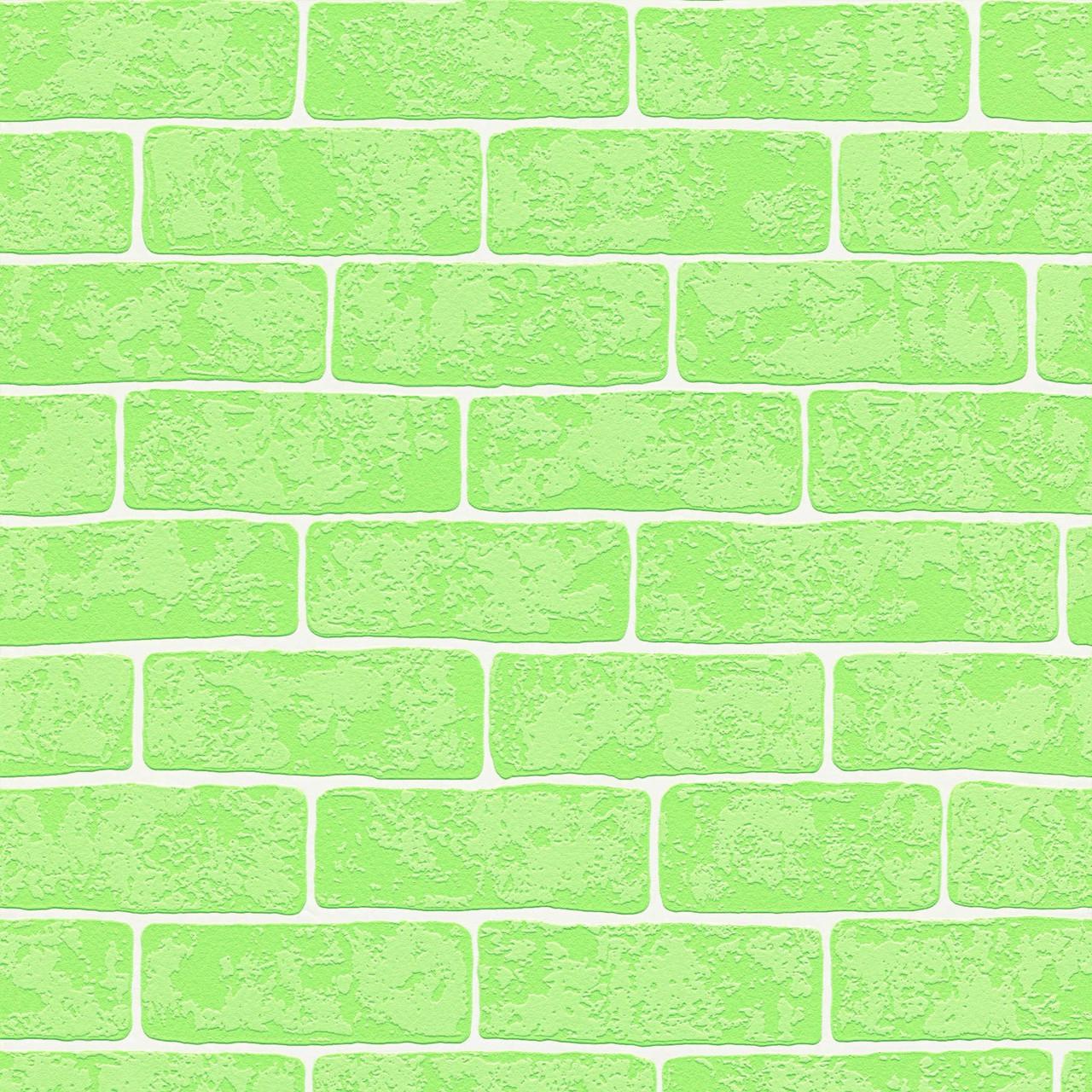 Ярко зеленые немецкие обои 359813 с выпуклыми декоративными изящными кирпичами, моющиеся для детской комнаты