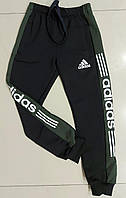 Детские спортивные штаны на манжетахдля мальчика Adidas размер 4-8 лет, цвет черный с хаки