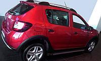 Renault Sandero 2007-2013 гг. Боковые пороги Maya V1 (2 шт., алюминий)