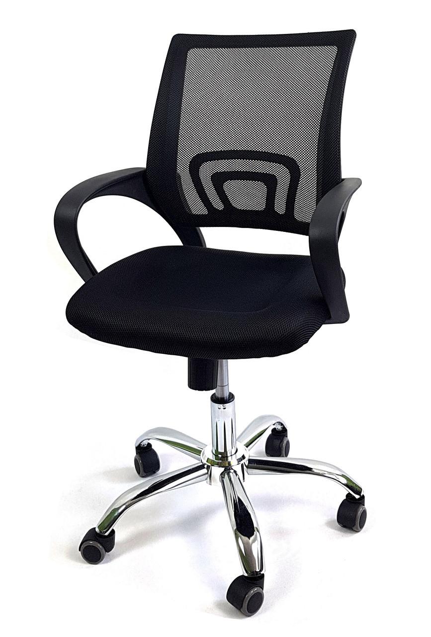 Кресло офисное на колесиках с подлокотниками Comfort C012 сетка Черный
