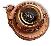 Компас Бронзовий Рятувальний круг в шкіряному чохлі, фото 1