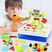 Мозаїка-конструктор з шуруповертом Puzzle Creative 193 деталі TLH-28, фото 1