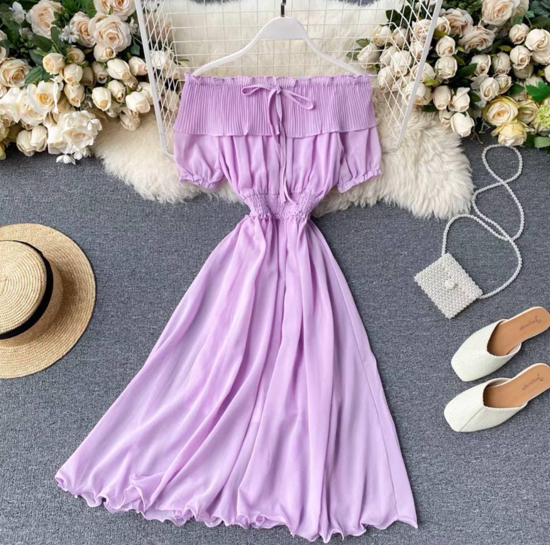 Женское легкое шифоновое платье Сиреневое