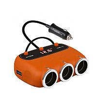 Автомобільний розгалужувач прикурювача з LED дисплеєм, вольтметром,, USB виходами, 12-24В, VEECLE, фото 1
