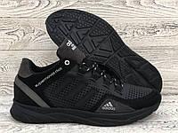 Чоловічі літні шкіряні кросівки Adidas перфорація. Мужские летние кожанные кросовки Adidas перфорация черные