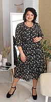 Полупрозрачное шифоновое платье на подкладке 50, 52, 54, 56, 58