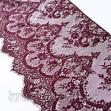 Ажурное французское кружево шантильи (с ресничками) оттенка бордо шириной 38 см, длина купона 3,0 м.
