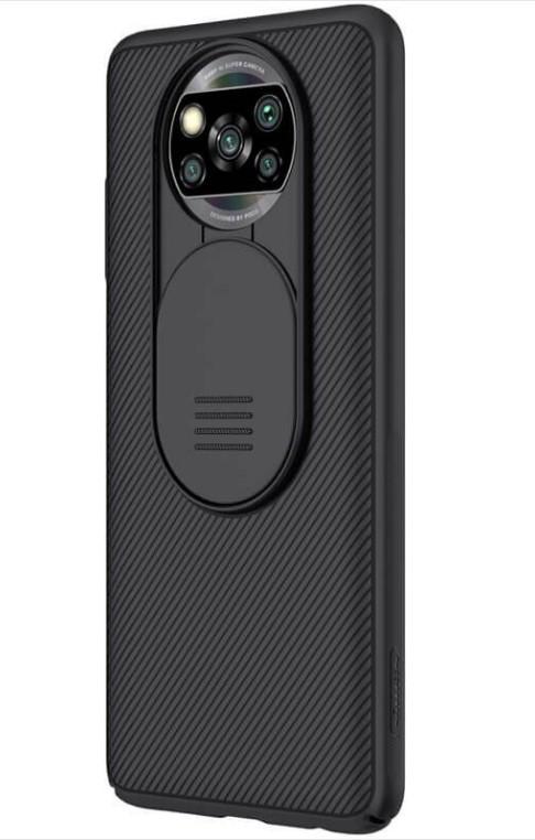 Чехол бампер карбоновый защитный Nillkin Camshield для Xiaomi Poco X3 NFC / Poco X3 Pro черный