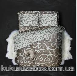 Двохспальний комплект 175х215 Штриховий Завиток з бязі Голд