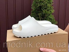 Чоловічі плескачі Adidas Yeezy SLIDES (білі) B10458 м'які зручні тапочки