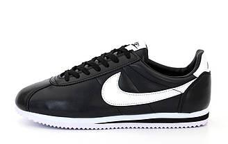Мужские кроссовки Nike Cortez (черно-белые) спортивные кожаные кроссы на пене К12065