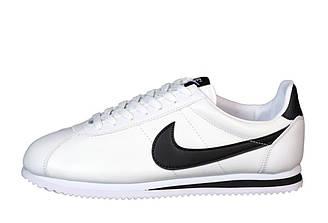Мужские кроссовки Nike Cortez (бело-черные) легкие кожаные кроссы на пене К12071