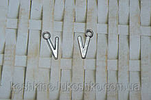 Подвеска буква V.  метал. английский алфавит