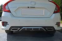 Honda Civic Sedan X 2016↗ гг. Диффузор на задний бампер (Meliset, под покраску)