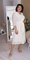 Белое кружевное платье с поясом 52, 54, 56, 58