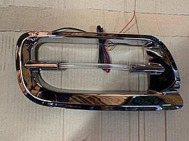 Накладки на противотуманки (2 шт, синий LED) Toyota LС 100 / Накладки на противотуманки Тойота Ленд