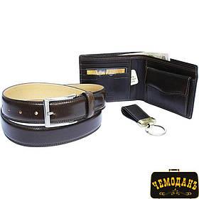 Набір шкіряне портмоне +ремінь+брелок Italico 534+KR133+200/35 moro коричневий