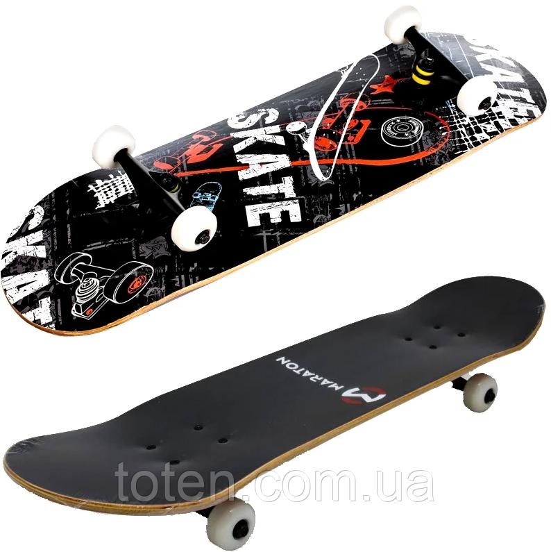 Скейтборд Maraton Winner 79*20 см трюковий дерев'яний 9 шарів клена Чорний