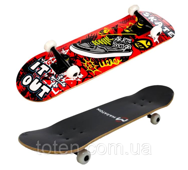 Скейтборд Maraton Winner 79*20 см трюковый деревянный 9 слоев клена Красный