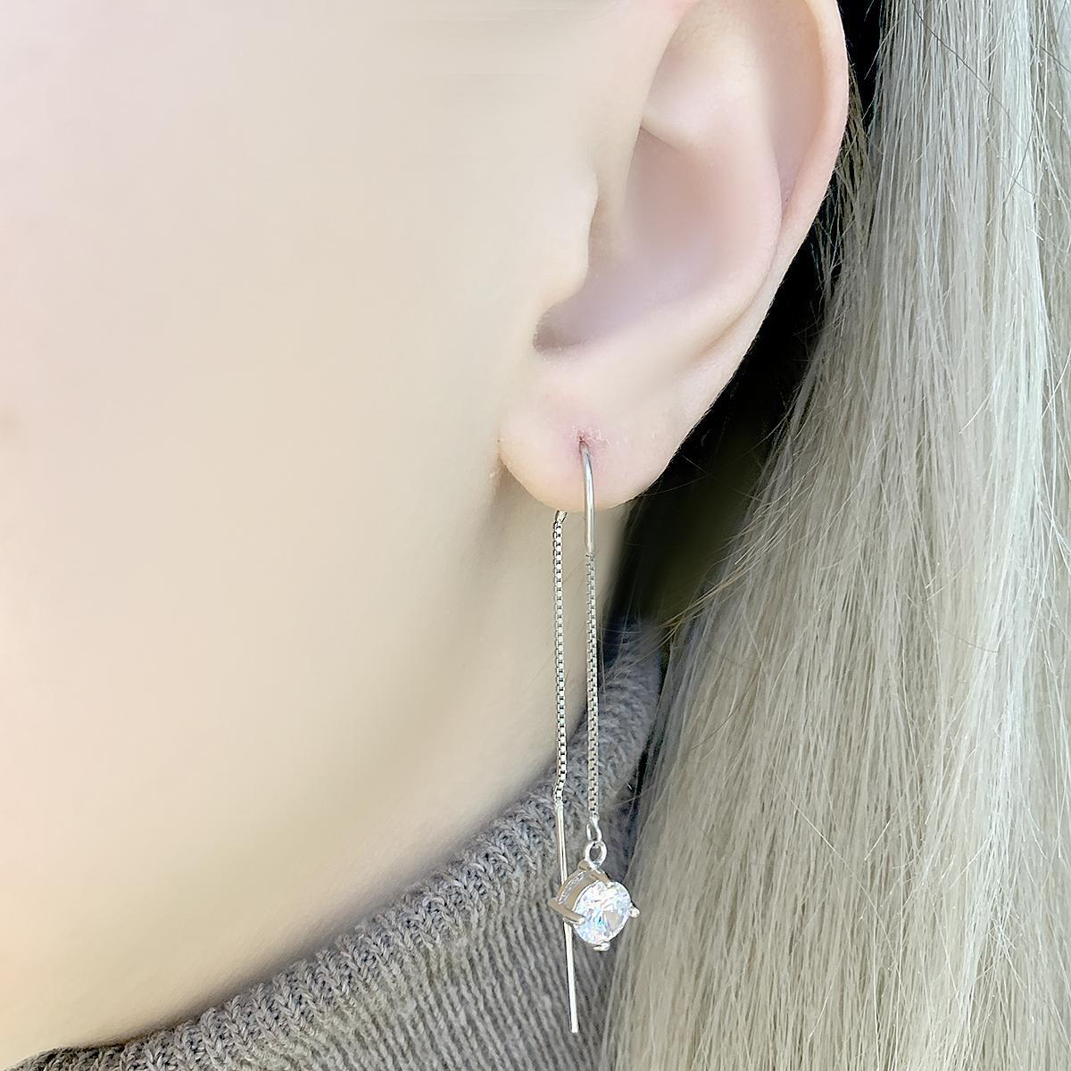 Срібні сережки pSilverAlex з фіанітами (2074021)