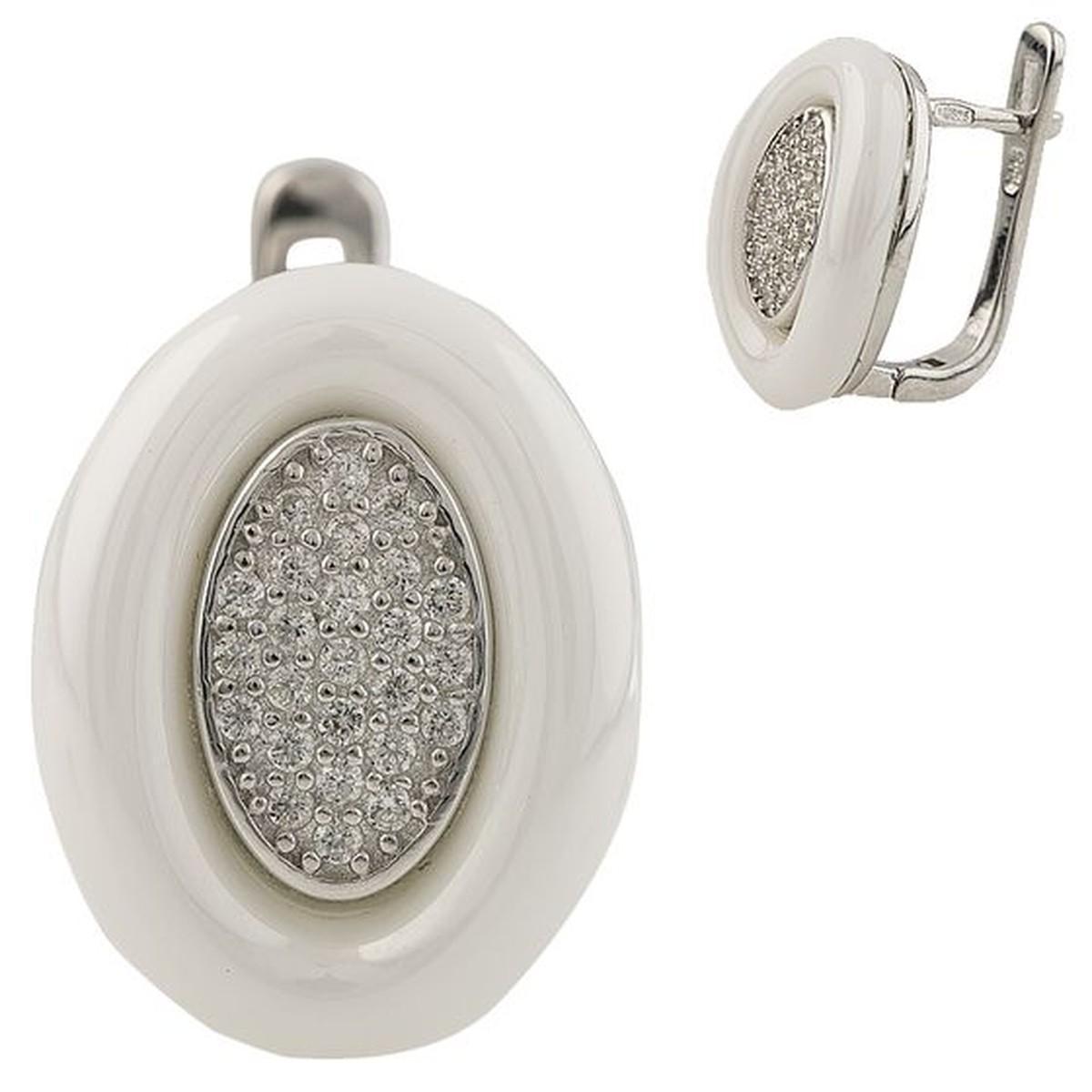 Серебряные серьги pSilverAlex с , керамикой (1220856)