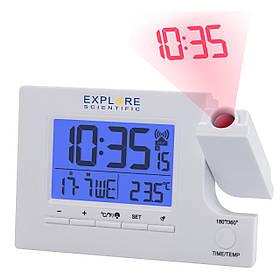 Часы проекционные Explore Scientific Slim Projection RC Dual Alarm White (RDP1003GYELC2)