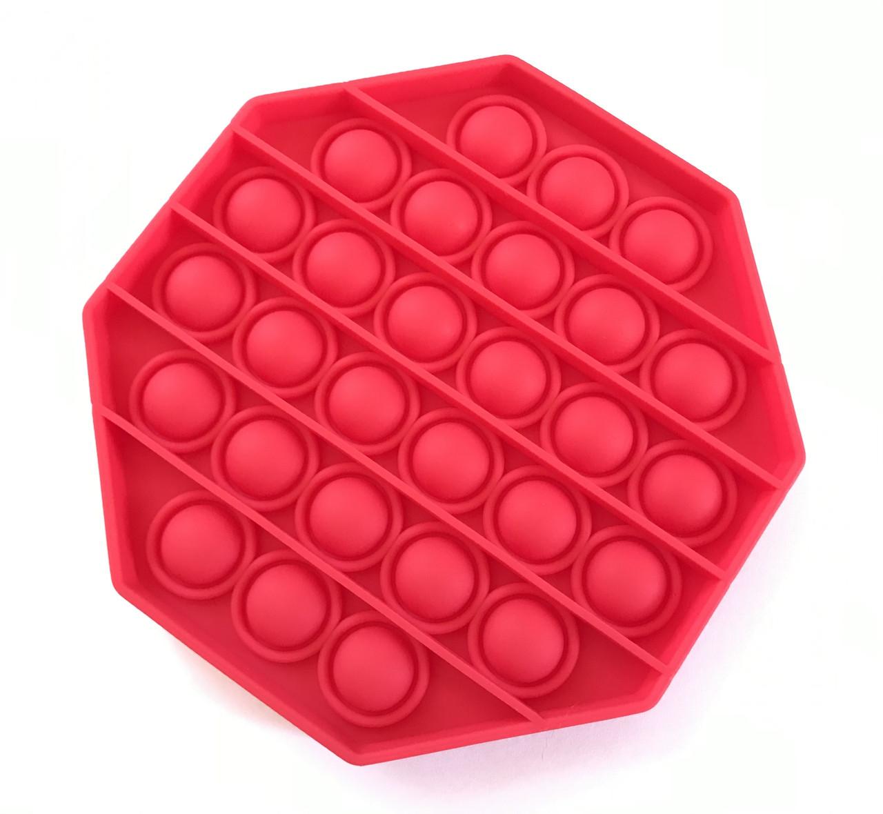 Pop It сенсорная игрушка, пупырка, поп ит антистресс, pop it fidget, попит, красный восьмиугольник