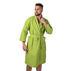 Вафельний халат Luxyart Кімоно розмір 46-48 М 100 бавовна Оливковий LS-1538, КОД: 2372557