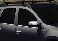 Nissan Terrano 2014↗ гг. Накладки на зеркала вариант 1 (2 шт) Carmos - Турецкая сталь