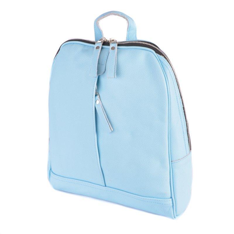 Блакитний жіночий шкіряний рюкзак М260brightblue молодіжний на блискавці з натуральної шкіри