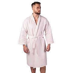Вафельний халат Luxyart Кімоно розмір 46-48 М 100 бавовна Пудровий LS-1459, КОД: 2396388