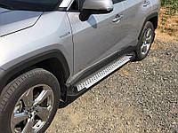 Toyota Rav 4 2019+ Боковые пороги Allmond Grey (2 шт., алюминий)
