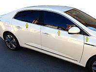 Renault Megane IV 2016↗ гг. Нижняя окантовка стекол (Sedan, 6 шт, нерж) OmsaLine - Итальянская нержавейка