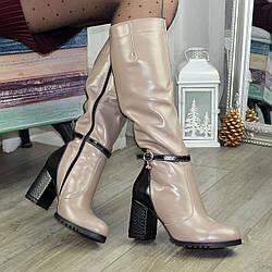 Женские сапоги на высоком устойчивом каблуке, натуральная кожа. 39 размер