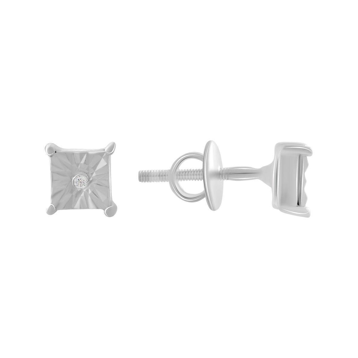 Срібні сережки pSilverAlex з натуральними діамантами 0.02 ct (2070900)