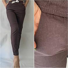 Женские летние штаны, № 123 ЛЕН коричневый