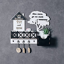 Деревянная ключница настенная Домик черно-белый 40*34 см Именная