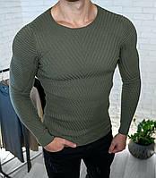 Чоловічий светр приталений хакі