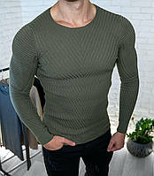 Мужской свитер приталенный хаки