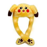 Светящаяся шапка Pikachu toys soft toys with led с двигающими ушками, Желтый, фото 1