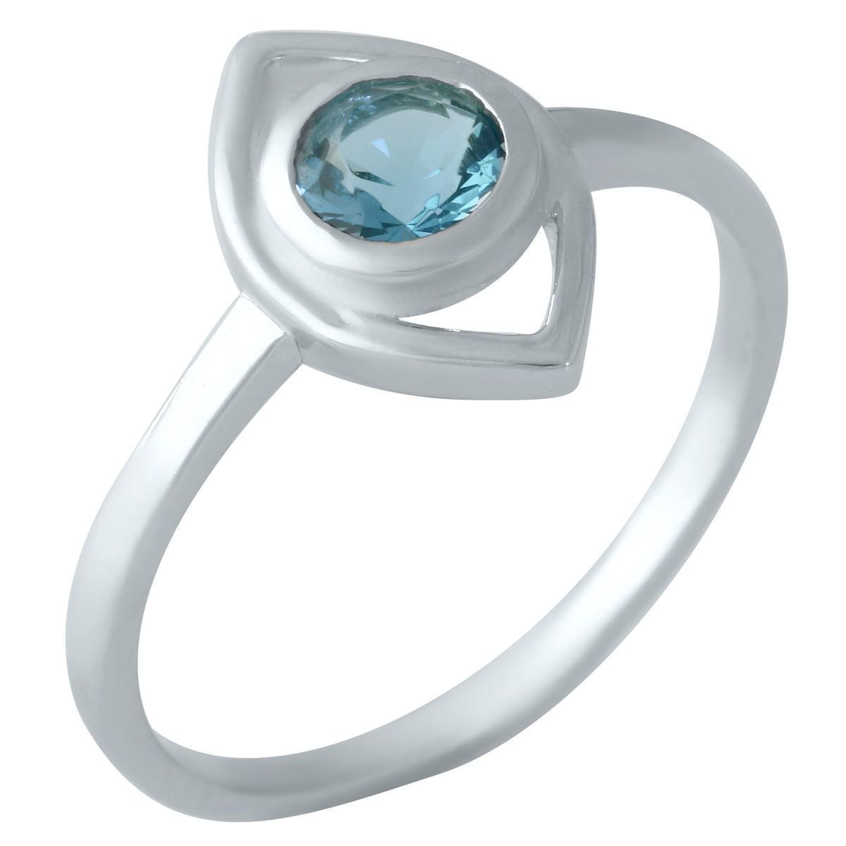 Серебряное кольцо pSilverAlex с натуральным топазом Лондон Блю (1959435) 18 размер
