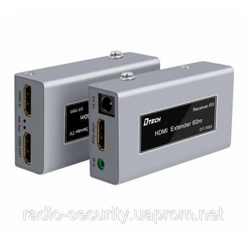 Комплект Extender подовжувач hdmi з IR до 60м по UTP, FTP кабелю Dtech HDMI DT-7053