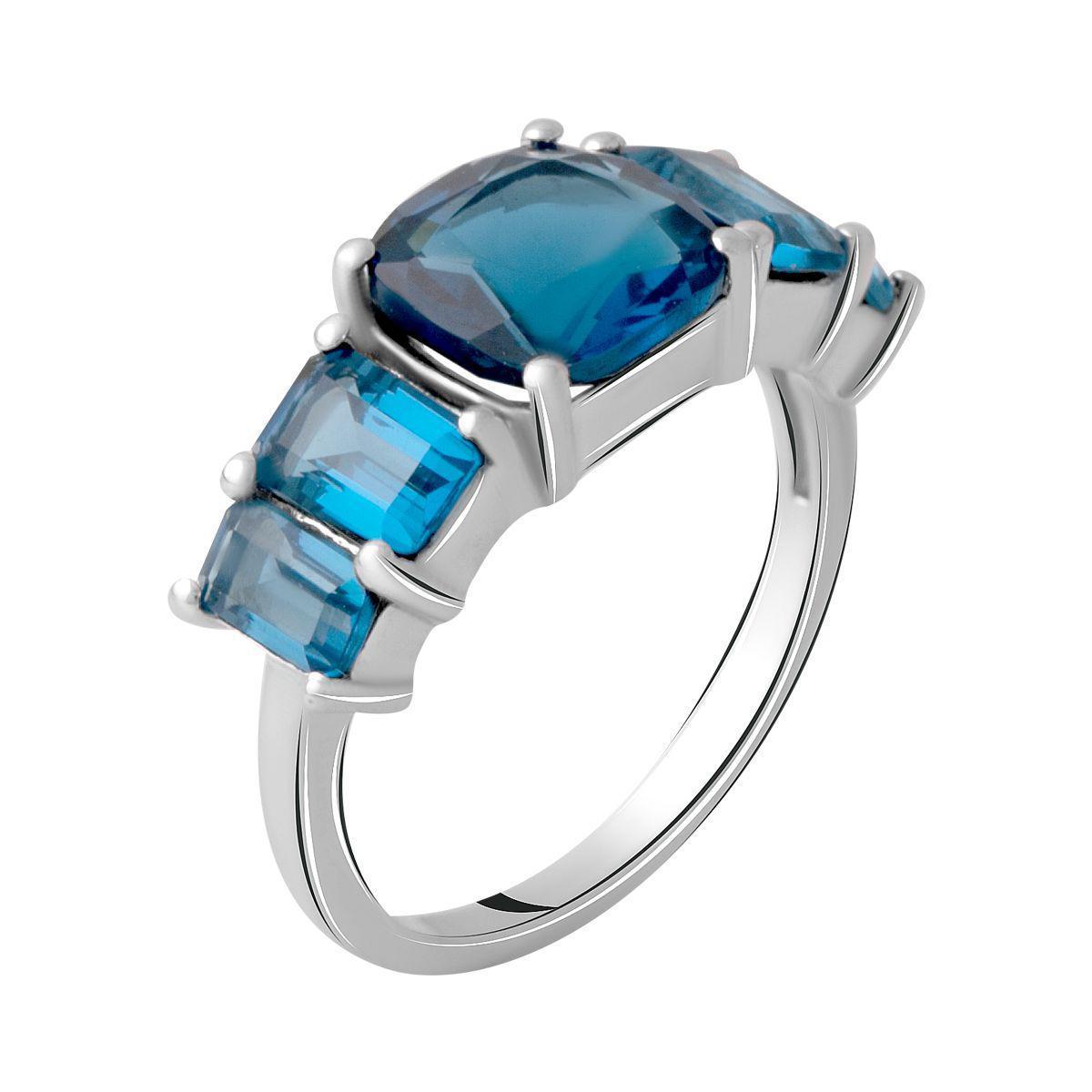 Серебряное кольцо pSilverAlex с натуральным топазом Лондон Блю 3.35ct (2062462) 18 размер