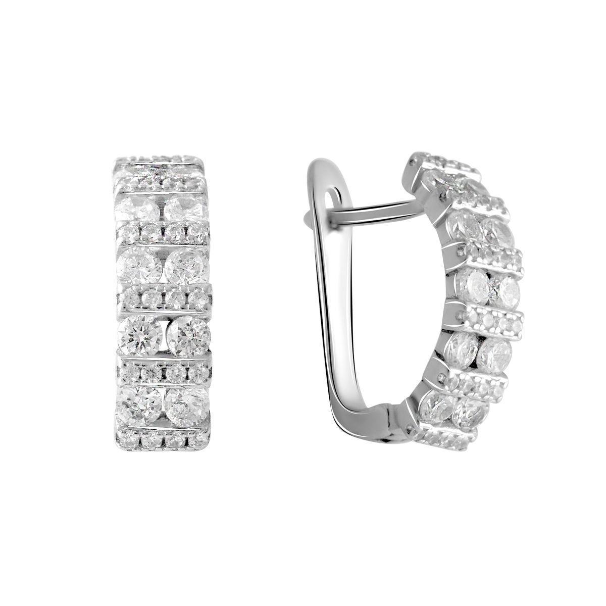 Срібні сережки pSilverAlex з фіанітами (2055266)