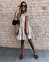 Женское летнее платье лён жатка , платье женское летнее свободное , красивое летнее платье