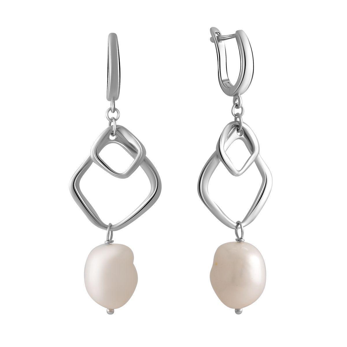 Срібні сережки pSilverAlex з натуральними перлами бароковим (2055945)